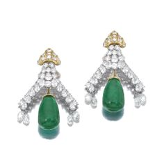 Pair of emerald and diamond pendent ear clips Each surmount set with brilliant-cut, pear-shaped and briolette diamonds, suspending a polished emerald drop weighing 40.55 and 41.61 carats respectively, to a diamond set cupola cap, mounted in yellow gold and platinum