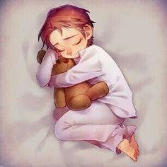 Aww. Little Hans with his teddy bear. Too cute!