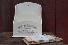 Desktop Mail Organizer / Vintage Mail Holder by JMFindsandDesigns
