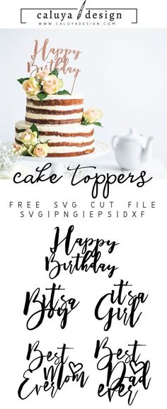 59 Ideas For Diy Wedding Cake Topper Cricut Diy Wedding Cake Topper, Diy Cake Topper, Oh Baby Cake Topper, Wedding Cakes, Cricut Cake, Fathers Day Cake, Happy Birthday Cake Topper, Clip Art, Shower Cakes