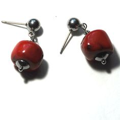 Items similar to Red Coral nuggets earrings with stainless steel bead caps & studs on Etsy Handmade Jewelry, Unique Jewelry, Handmade Gifts, Red Coral, Bead Caps, Easy Wear, Studs, Cufflinks, Stainless Steel