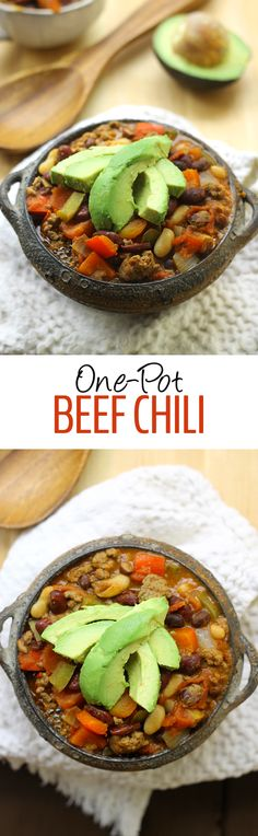 No need to dirty all of your dishes with this no-fuss One-Pot Beef Chili Recipe. For added flavor this recipe also uses 3 different types of beans! A simple, one-pot meal for the whole family to enjoy.