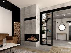 Krajewski, Fireplace, H+ architecturearchitecture Home Fireplace, Modern Fireplace, Living Room With Fireplace, Fireplace Design, Home Room Design, Home Interior Design, House Design, Modern Lounge Rooms, Basement Inspiration