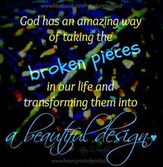 """Step Two Toward Healing: Own Our Brokenness The Psalmist, David, cried out in his distress,  """"Be merciful to me, LORD, for I am in distress; my eyes grow weak with sorrow, my soul and body with grief. My life is consumed by anguish and my years by groaning; my strength fails because of my affliction, and my bones grow weak. I have become like broken pottery"""" (Psalm 31:9-13).  Read more http://gracegayle.blogspot.ca/"""
