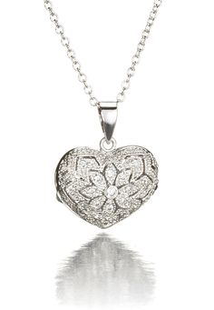 Filigree Heart Locket with Cz Gemstones