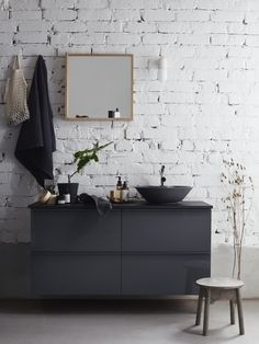 Subdued tones with matte and shiny surfaces combined with natural materials. - Subdued tones with matte and shiny surfaces combined with natural materials. Dark Gray Bathroom, Dark Bathrooms, Ikea Bathroom, Bathroom Floor Tiles, Bathroom Vanities, Bathroom Ideas, Budget Bathroom, Bathroom Cabinets, Bathroom Designs