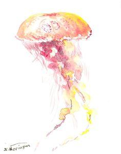 Jelly Fish, Original watercolor painting, 10 X 8 in, pink red yellow art, watercolor animal art, sea animals, minimalism