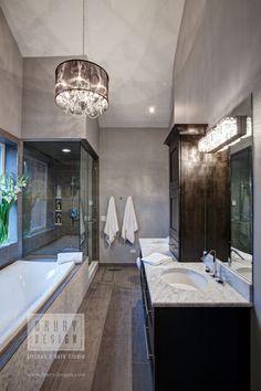 Contemporary Bath with high ceilings, great light fixture, glass surround shower, via drurydesigns.com