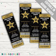Hollywood party invites, ideal for use as a movie party invitation or for a movie star party. Star Wars Party, Movie Star Party, Movie Stars, Oscar Party, Filmstar Party, Movie Party Invitations, Funeral Invitation, Invite, Hollywood Invitations