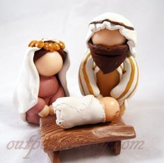 Christmas Nativity Set - Polymer Clay Figurines - Jesus, Mary, & Joseph. $48.00, via Etsy.