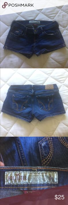🔥Hollister Shorts🔥 Hollister brand. Size 0. Low rise. These are. There is a tiny bit of distressing in the back pockets as shown in the pictures. There is also some wear on the ends. Hollister Shorts Jean Shorts