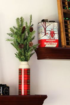 Vintage thermos - A holiday house tour with lots of Christmas decorating ideas, including many vintage Christmas decorations and easy DIY projects.  via houseofhawthornes.com