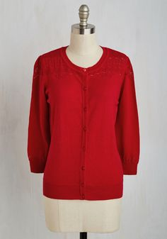Bake-Off the Charts Cardigan in Cherry. Put your culinary know-how to the ultimate test - and look so sweet in this bright red cardi while you're doing it! #red #modcloth