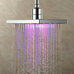 Color changing LED rainfall shower head. $78.
