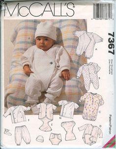 McCalls 7367 Baby layette jumpsuit romper gown pattern Infant UNCUT FF 7-18 lbs. #McCalls7367