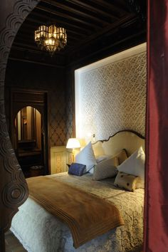 Bedroom at the Royal Mansour Hotel in Marrakech, Morocco