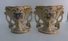 Vintage Pair of Hand Painted Vases -- Limoges, Pink, White and Gold