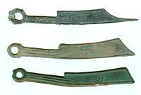 Yan State knife money (燕国刀币) Knife money is the name of large, cast, bronze, knife-shaped commodity money produced by various governments and kingdoms in what is now known as China, approximately 2500 years ago. Knife money circulated in China between 600 to 200 B.C. during the Zhou dynasty
