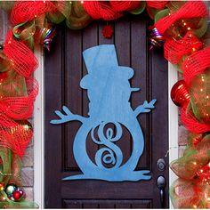 aMonogramArtUnlimited Snowman Decorative Holiday Sign Color: Blue, Letter: S