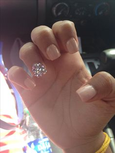 Nude nails with gems