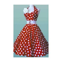Vivien of Holloway 50s Retro Hatlerneck polka dots red white dress ($105) ❤ liked on Polyvore featuring dresses, white polka dot dress, white day dress, red dresses, polka dot dress and red polka dot dress