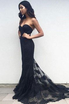 prom dresses,New Arrival black sweetheart neck lace train long prom dress, black evening dress