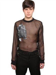 Givenchy - Naked Man Printed Silk Organza Shirt   FashionJug.com