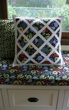 pillow to match window seat in kitchen