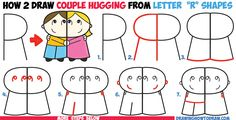 "How to Draw Cartoon Couple (Girl and Boy) Hugging from Letter ""R"" Shapes Easy Step by Step Drawing Tutorial for Kids"