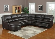 6 Pc Nicole Espresso Bonded Leather Sectional Sofa With Recliners And Chaise.  This Set Features RAF Reclining Chair, Center Console Unit With Cup Holders  ...