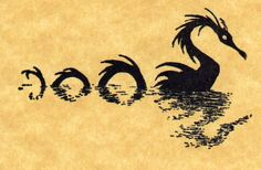 Sea Serpent Rubber Stamp by ButterSideDownStamps on Etsy, $7.95