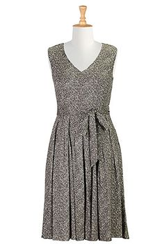 I <3 this Herringbone print sash tied dress from eShakti. BOGO with dresses plus $20.00 off, how could I not. Ordered this above the knee and with short sleeves and boat neck