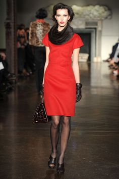 New York Fashion Week, Fall 2012: St. John - a simple way to amp up a classic dress.
