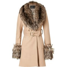 RACHEL ZOE Camel Faux Fur Trimmed Trish Coat ($553) ❤ liked on Polyvore featuring outerwear, coats, jackets, coats & jackets, tops, rachel zoe coat, belted camel coat, double breasted coat, faux fur trim coat and drape coat
