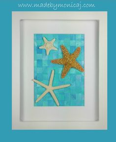 8x10 Beach Theme Home Décor - Shadow box framed art.  Woven hand painted paper in shades of teal and aqua.  One of a kind item.