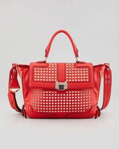 Studded Red Handbag.