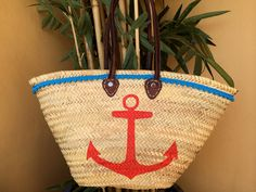 Red anchor. Hand painted