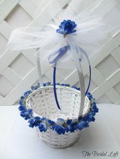 Royal Blue Rose Flower Girl Basket, Cobalt Blue Wedding Basket, by BridalLoft