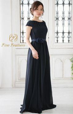 Amazon | FineFeathers(ファインフェザーズ) シンプル Aライン ロングドレス フレンチスリーブ [TM1609] | ワンピース・チュニック 通販