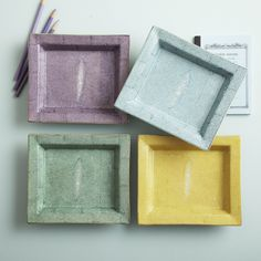 Shagreen Tray A/4 Colors Hand-Painted Porcelain © Twos Company