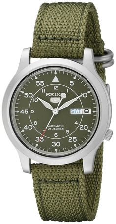 7aa82e80ccd Seiko 5 Automatic Stainless Steel with Green Canvas Strap Men s Watch -  Watch Direct Seiko Men