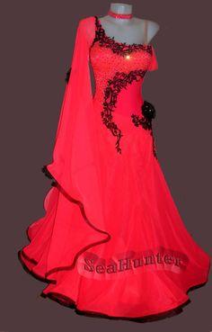 Ballroom Standard Watlz Foxstep Tango Dance Dress US 6 UK 8 Red Balck Lace Color