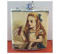 Alice in Wonderland flask white rabbit retro vintage fairy tale victorian fantasy by buckaroosmercantile on Etsy