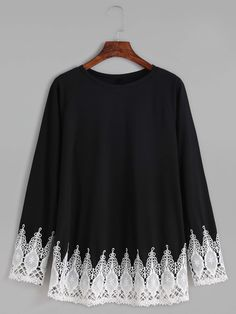 Shop Black Contrast Crochet Trim T-shirt online. SheIn offers Black Contrast Cro… Shop Black Contrast Crochet Trim T-shirt online. SheIn offers Black Contrast Crochet Trim T-shirt & more to fit your fashionable needs. Long Sleeve Tops, Long Sleeve Shirts, Shirt Sleeves, Daily Dress, Kurta Designs, Mode Hijab, Sleeve Designs, Crochet Trim, Blouse Styles