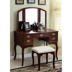 Furniture of America Doris Solid Wood Vanity Table and Stool Set   Overstock™ Shopping - The Best Prices on Furniture of America Bedroom Mirrors