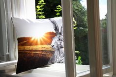 #hare #sun #comein #welcome #cushion #organic #pillow #digitalprint // #feldhase #hase #osterhase #willkommen #hereinspaziert #bio #gots