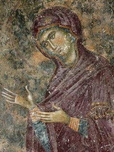Theotokos, fresco from Sopoćani Monastery - Serbia, 13th century A.D.