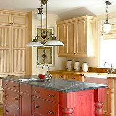 Love the red cabinets!