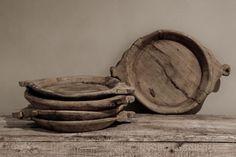 Hoffz Oude houten vergrijsde schalen