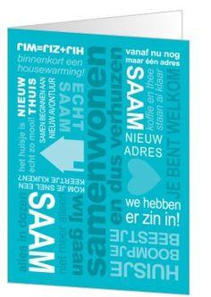 Verhuiskaart voor als je gaat samenwonen, blauw met tekst.
